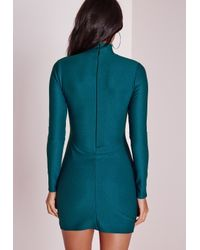 Missguided - Blue Crepe High Neck Bodycon Dress Teal - Lyst