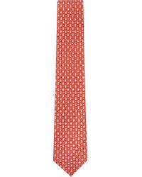 Ferragamo - Red Teddybear Flag Silk Tie for Men - Lyst