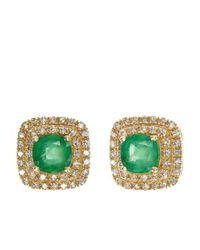 Effy | Green Emerald And Diamond 14k Yellow Gold Earrings | Lyst