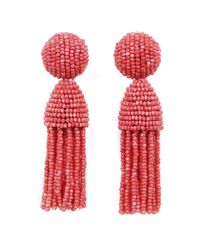 Oscar de la Renta | Red Classic Short Tassel Earring | Lyst