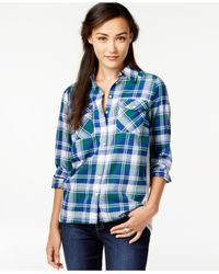 G.H. Bass & Co. - Blue Plaid Knit-back Shirt - Lyst
