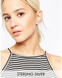 ASOS - Metallic Gold Plated Sterling Silver Open Circles Ear Crawler - Lyst