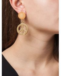 Moschino | Metallic Peace Sign Clip-on Earrings | Lyst