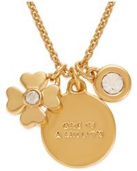 kate spade new york | Multicolor 12k Gold-plated Clover Charm Pendant Necklace | Lyst