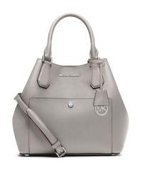 MICHAEL Michael Kors - Gray Saffiano Leather Grab Bag - Lyst