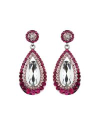 Mikey | Pink Oval Design Multi Crystals Drop Earring | Lyst