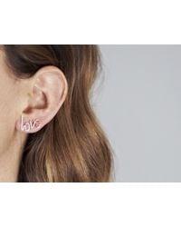 By Philippe   Metallic Small Love Stud Earrings   Lyst