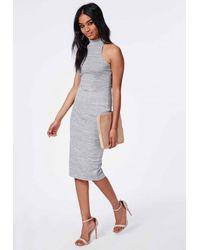 Missguided - Gray Jersey High Neck Midi Dress Grey Marl - Lyst