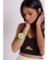 Missguided - Green Statement Floral Bracelet Yellow - Lyst
