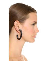 Kenneth Jay Lane - Horn Hoop Earrings - Black - Lyst
