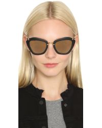 Miu Miu - Black Matte Cat Eye Sunglasses - Lyst