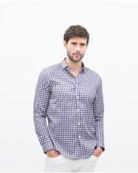 Zara | White Check Shirt for Men | Lyst