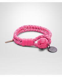Bottega Veneta - Pink Rosa Shock Intrecciato Ayers Nappa Bracelet - Lyst