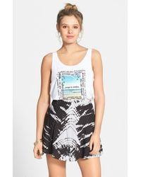 Volcom - Black 'sk8r Girl' Print Skater Skirt - Lyst