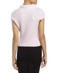 Les Copains - Light Pink Basket Weave Sweater - Lyst