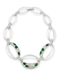 Alexis Bittar - Metallic Half-encrusted Lucite Link Necklace - Lyst