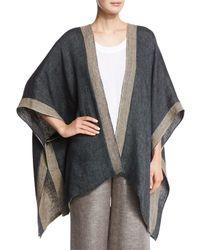 Eskandar - Gray Reversible Gauzy Linen Open-front Cape - Lyst