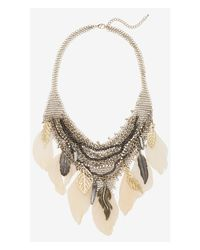 Express - Pink Chain Mail and Feather Bib Necklace - Lyst