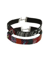 TOPSHOP - Multicolor Tribal Fabric Choker - Lyst
