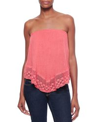 Golden by JPB - Pink Balinese Strapless Voile/crochet Top - Lyst