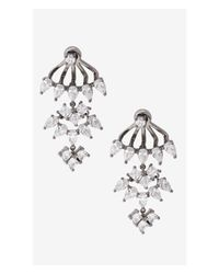 Express - Metallic Rhinestone Dangle Jacket Earrings - Lyst