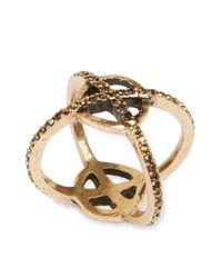 Lucky Brand - Metallic Goldtone Pave Xo Crisscross Ring - Lyst