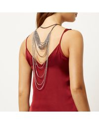 River Island | Metallic Silver Tone Embellished Drape Back Necklace | Lyst