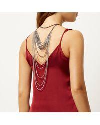 River Island - Metallic Silver Tone Embellished Drape Back Necklace - Lyst