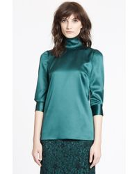 Dolce & Gabbana | Green Stretch Silk Satin Top | Lyst