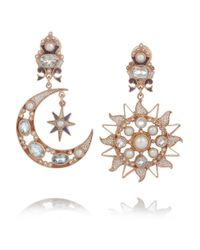 Percossi Papi | Metallic Sun and Moon Rose Goldplated Topaz and Pearl Earrings | Lyst