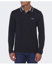 BOSS Green | Black Pleesy Long Sleeved Polo Shirt for Men | Lyst