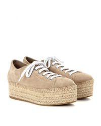 Miu Miu - Natural Suede Espadrille-style Platform Sneakers - Lyst