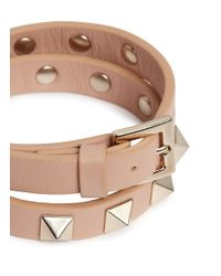 Valentino - Pink 'rockstud' Double Wrap Leather Bracelet - Lyst