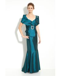 Daymor - Blue Taffeta Jacket With Trumpet Skirt - Lyst