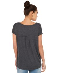 AKIRA - Gray Rolled Up Charcoal Top - Lyst