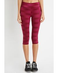 Forever 21 | Purple Polka Dot Athletic Capri Leggings | Lyst