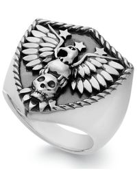 Macy's | Metallic Men's Eagle Ring In Sterling Silver for Men | Lyst
