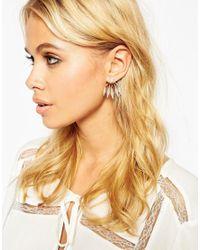 ASOS - Metallic Oversize Crystal Double Earrings - Lyst