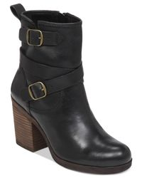 Lucky Brand | Black Women's Orenzo Buckle Block Heel Booties | Lyst
