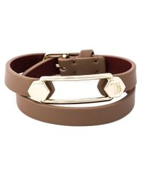 Tod's - Brown Metal Pin Wrap Bracelet - Lyst