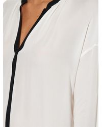 Vince - White Contrast-trim Silk Blouse - Lyst
