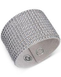 Swarovski - Gray Fabric Crystal Stud Wrap Bracelet - Lyst