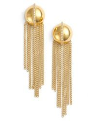 Rachel Zoe | Metallic 'remy' Fringe Drop Earrings | Lyst