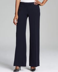Adrianna Papell | Blue Wide Leg Pants with Waist Tabs | Lyst