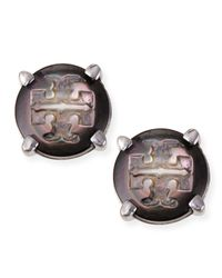 Tory Burch - Gray T Logo-carved Button Stud Earrings - Lyst
