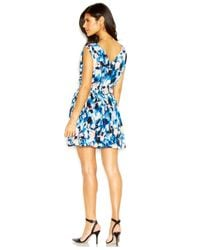 RACHEL Rachel Roy - Blue Sleeveless Zipper-Front Printed Dress - Lyst