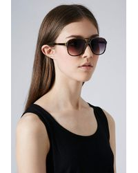 TOPSHOP - Natural Andie Square Aviator Sunglasses - Lyst
