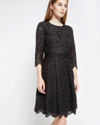 Ted Baker | Black Lace Skater Dress | Lyst