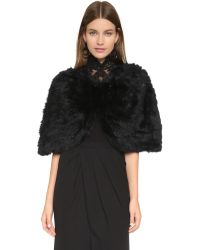 Adrienne Landau - Cropped Fur Cape - Black - Lyst