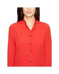 Ralph Lauren | Red Crepe De Chine Bib-front Shirt | Lyst